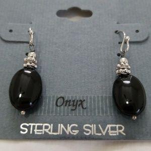 Black sterling silver onyx earrings NWT.